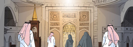 Arab People Coming To Mosque Building Muslim Religion Ramadan Kareem Holy Month royalty free illustration