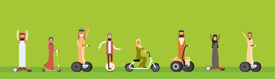 Arab People Group Arabic Man Woman Ride Electric Hover Board Stock Image