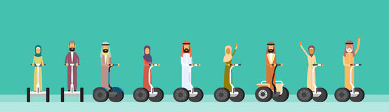 Arab People Group Arabic Man Woman Ride Electric Personal Transport Royalty Free Stock Photography
