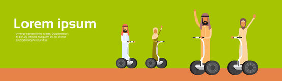 Arab People Group Arabic Man Woman Ride Electric Scooter. Segway, Modern Personal Transport Banner Copy Space Flat Vector Illustration Stock Photo