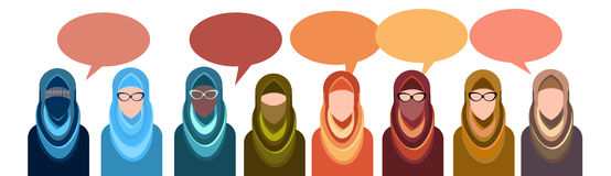 Arab People Group Chat Bubble Communication Concept, Muslim Talking Arabic Woman Social Network Royalty Free Stock Photo