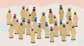 Arab People Group Traditional Clothes Desert Crowd Royalty Free Stock Images
