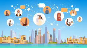 Arab People Having Connection Chat Media Communication Social Network Over City Background. Flat Vector Illustration Royalty Free Stock Images