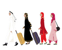 Arab people. An illustration of arab people dressed in traditional clothing walking along with luggage on a white background Stock Image