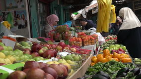 Arab People shopping at acre old market in Akko, Israel stock footage