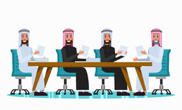 Arab people talking in meeting room. Flat character design. vector illustration Royalty Free Stock Photos