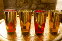 Arab peppermint tea golden glasses Stock Images