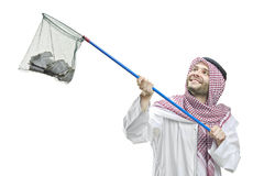 An Arab person with a fishing net. Isolated on white background royalty free stock photo