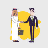 Arab person shaking hands with a businessman. Business concept cartoon illustration. Linear flat design Royalty Free Stock Photos