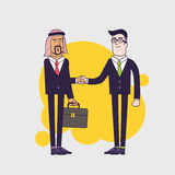 Arab person shaking hands with a businessman. Business concept cartoon illustration. Linear flat design Stock Image