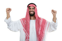 An arab person with a thumbs up isolated on white background Royalty Free Stock Image