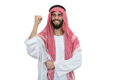 An arab person with a thumbs up isolated on white background Stock Images