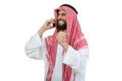 An arab person with a thumbs up isolated on white background Stock Photo