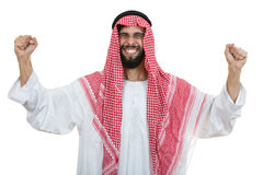 An arab person with a thumbs up isolated on white background Royalty Free Stock Images