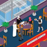 Arab Persons Business Lunch Isometric Illustration Stock Images