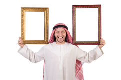 Arab with picture frame. On white Royalty Free Stock Images