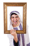 Arab with picture frame Royalty Free Stock Photography