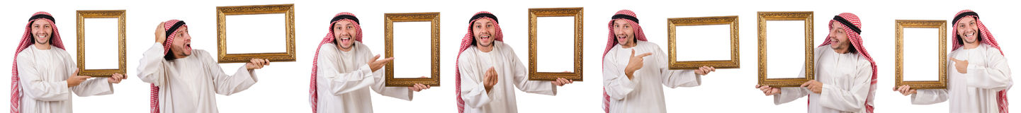 The arab with picture frame on white Royalty Free Stock Images