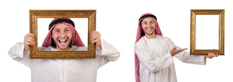 The arab with picture frame on white Royalty Free Stock Image