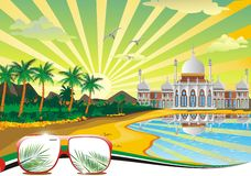 Arab plaża Arabski pałac na wybrzeżu ilustracja wektor