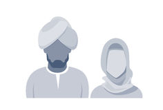 Arab Profile Icon Male And Female Avatar Man Woman, Muslim Cartoon Couple Portrait Royalty Free Stock Photo