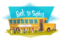 Arab Pupils Group Walking To Yellow Bus Riding Back To School Muslim Schoolchildren 1 September. Flat Vector Illustration Royalty Free Stock Photography