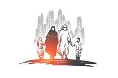 Arab, rodzina, muzułmańska, kultury pojęcie Ręka rysujący odosobniony wektor Obrazy Stock