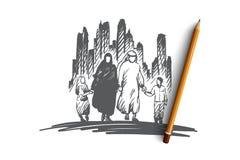 Arab, rodzina, muzułmańska, kultury pojęcie Ręka rysujący odosobniony wektor ilustracja wektor