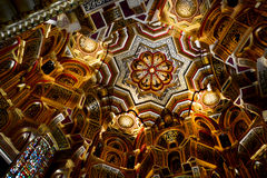 The Arab room ceiling in Cardiff castle. The ceiling of Arab room in Cardiff castle. One of the most beautiful interior decoration Royalty Free Stock Photo