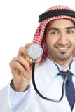 Arab saudi emirates doctor man using a stethoscope to the camera Royalty Free Stock Photography