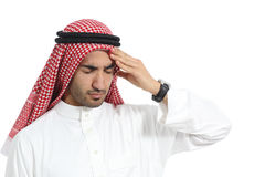 Arab saudi emirates man with headache Royalty Free Stock Photo