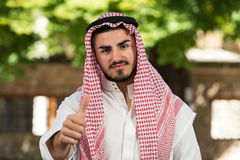 Arab Saudi Emirates Man Holding Thumbs Up Royalty Free Stock Photos