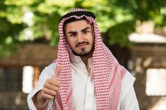 Arab Saudi Emirates Man Holding Thumbs Up Royalty Free Stock Photos