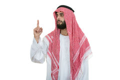 Arab Saudi Emirates Man Pointing You At Camera Isolated On A White Background Stock Images