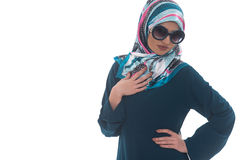 Arab Saudi Woman Half Body Posing Confident. Young Muslim Woman In Head Scarf With Modern Clothes And Sunglasses - Isolated On White Stock Photos