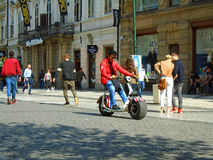 Arab on segway in the city Prague Royalty Free Stock Photos