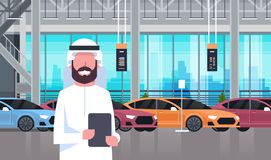 Arab Seller Man In Cars Dealership Center Showroom Interior Over Set Of New Modern Vechicles. Flat Vector Illustration Royalty Free Stock Photography
