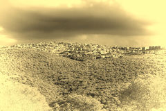 Arab Settlement in Israel. Galilee mountains arab settlement in Israel. Panorama of Galilee- the Northern District of Israel. Vintage Style Toned Picture Stock Image