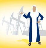 Arab sheikh. On the image the Arab sheikh against oil wells is presented Royalty Free Stock Photo