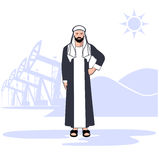 Arab sheikh against the background of oil production. On the image it is presented Arab sheikh against the background of oil production stock illustration