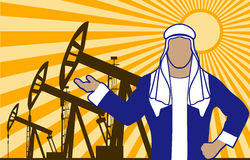 Arab sheikh against oil wells is presented Royalty Free Stock Image