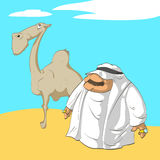 Arab sheikh and his camel Royalty Free Stock Images