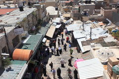 Arab Souk in the Muslim Quarter from above Stock Photography