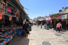 Arab Souk nära den Damascus porten, Jerusalem Arkivbilder