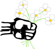 Arab spring. A strong powerful rough fist holds a bunch of daisies that represents the Arab spring movement across the Arabic world Royalty Free Stock Photo