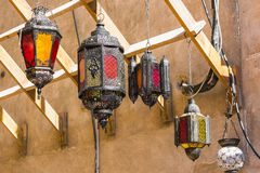 Arab street lanterns in the city of Dubai Royalty Free Stock Photography