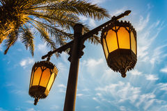 Arab street lanterns in the city of Dubai Royalty Free Stock Images