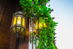 Arab street lanterns in the city of Dubai Royalty Free Stock Photo