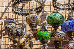 Arab street lanterns in the city of Dubai Stock Photos