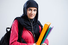 Arab student holding folders Stock Photography